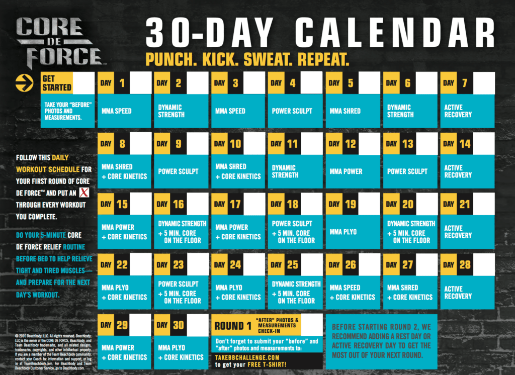 Core De Force Workout Calendar, Melanie MItro