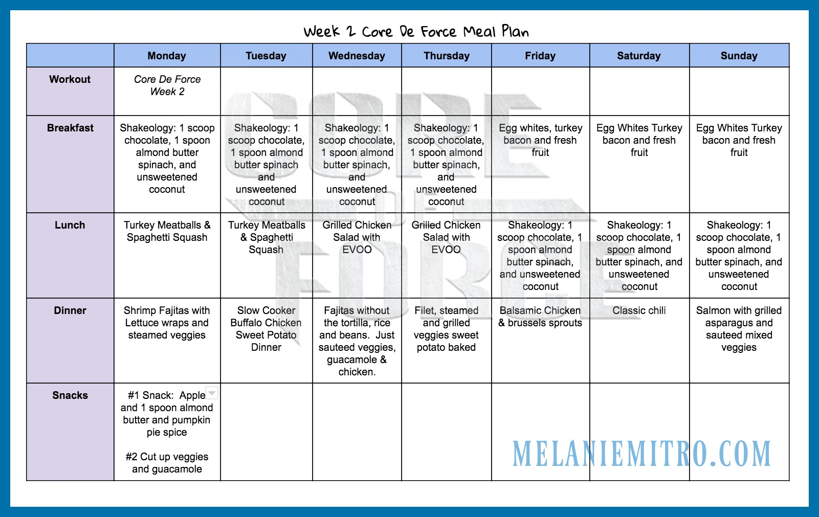 Core De Force Meal Plan, Melanie Mitro, Week 2