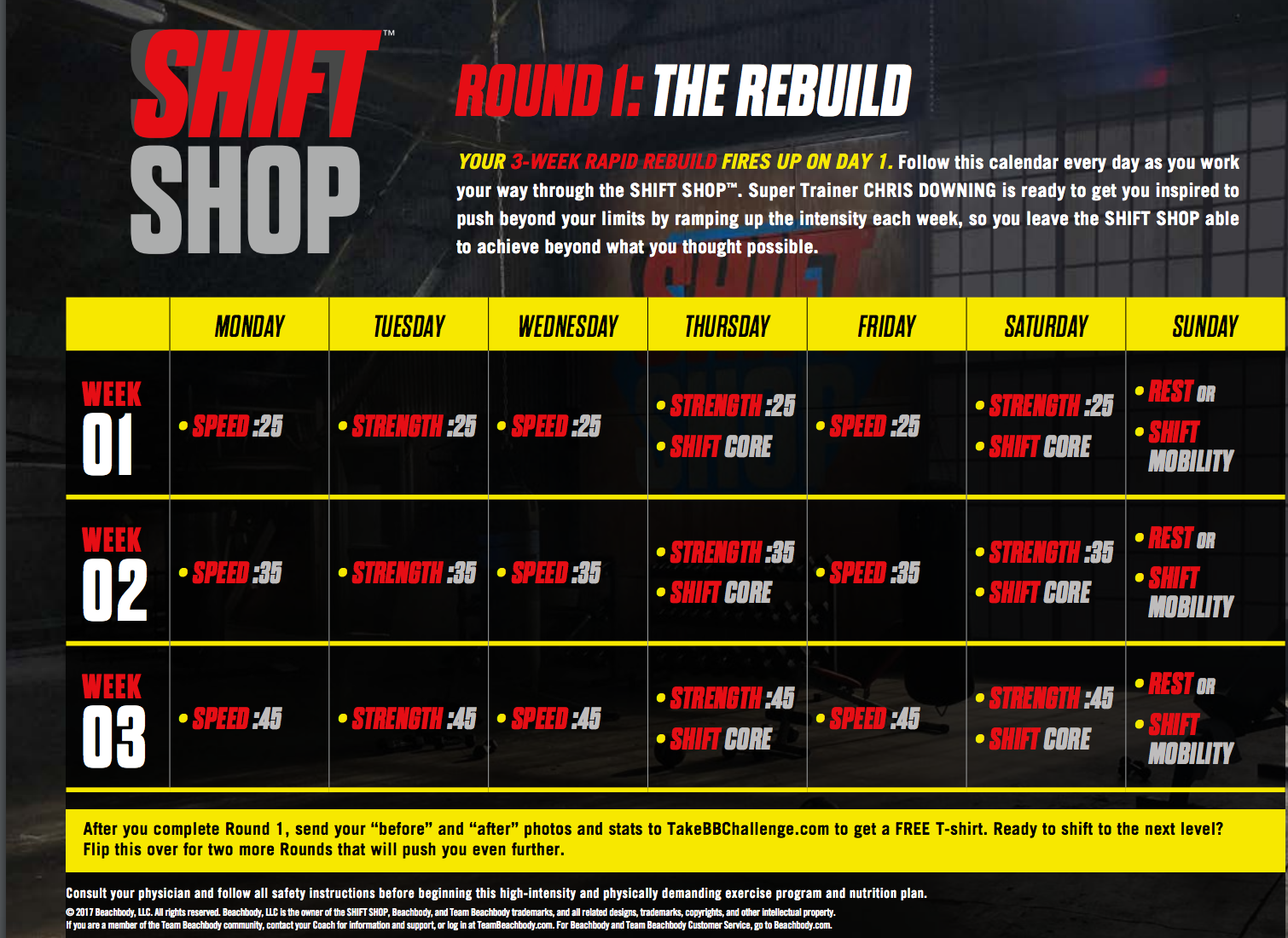 Shift Shop Workout Calendar, Week 1 Meal plan, Meal Plan A Shift Shop, Melanie Mitro
