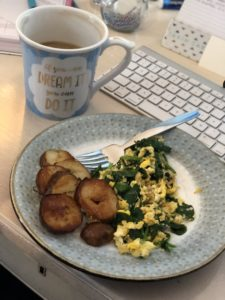 Post Workout Meal, Eggs, Spinach, Potatoes, Coffee