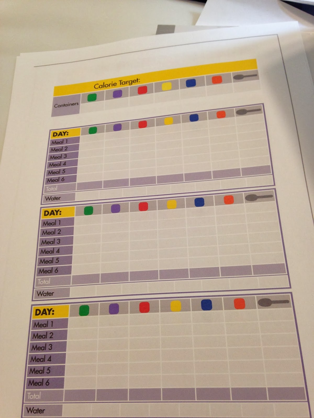 21 Day Fix Tracking Sheets